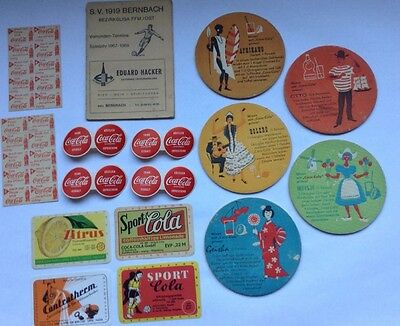 LOT VINTAGE GERMAN COCA COLA COASTER LABLE STAMPS SOCCER  KOSTLICH EISKALT 50s