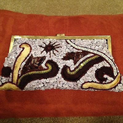 Vintage Evening Clutch White Sequins Brown Yellow Small