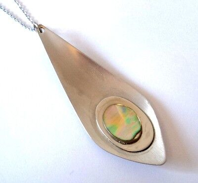 c.1970s Stylish STEEL PENDANT NECKLACE Abalone Shell MODERNIST STYLE Chunky