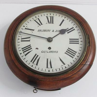 SMALL CHAIN FUSEE MAHOGANY DIAL WALL CLOCK like Railway, school, office etcetera