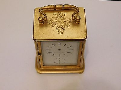 Antique Small Gilded Alarm Carriage Clock Case And Dial