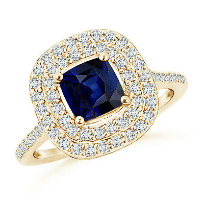 Natural Cushion Sapphire Halo Engagement Ring with Diamond 14K Yellow Gold