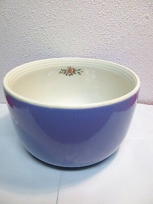 """9"""" Vintage Hall's Rose Parade Mixing Bowl 1259 Pink Flowers Serving Blue thick"""