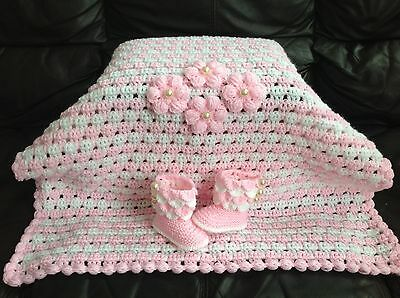 Hand knitted baby girl  blanket and booties  0-3 months
