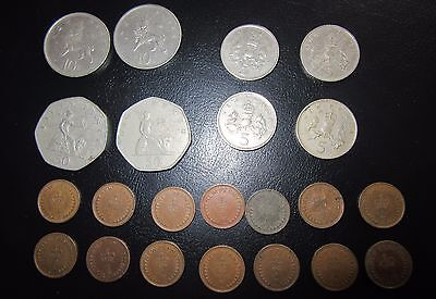 LOT OF BRITISH OLD COINS 50P 5p 10p half pences