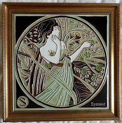 SPRING - Ceramic Majolica Framed tile BY MAW & Co