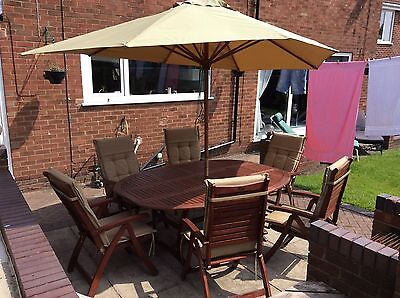 Hardwood Garden Furniture Set~6 Reclining Chairs~ With Cushions & Canopy~VGC!