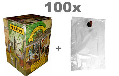 Bag in Box Set 5L 100x Beutel und 100x Kartons Alte Presse Motiv