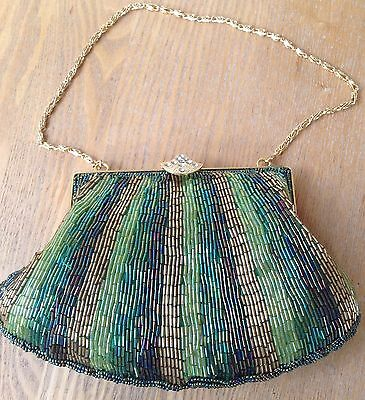 Vintage Evening Sparkly Small Beaded Handbag with Gold Chain, Diamante, Perfect