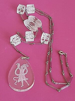 RARE ART DECO FRENCH CRYSTAL Necklace Intaglio Pendant  PRETTY Beads