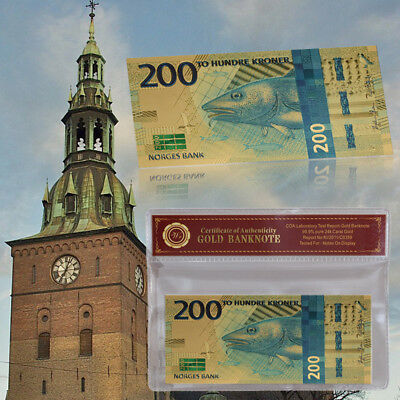WR Norway 200 Kroner 2017 New Gold Banknotes Uncirculated Nok Norwegian Bill