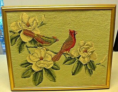 Vtg Framed Needlepoint Cardinals and Magnolia Flowers 1970s 17 x 21 Completed