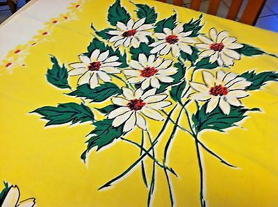 Vintage Cotton Print Tablecloth Tagged Simtex Yellow Daisy White Red Green