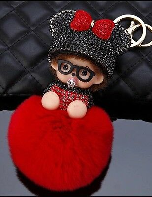 Porte Clé Monchichi Kiki Strass Mickey Disney Minnie