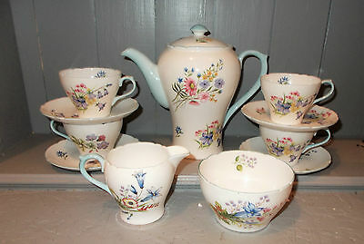 Shelley Bone China 11 Pc Coffee Set / Service Wild Flowers 13668 - Blue Accent