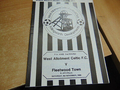 FA Vase 1985/6 West Allotment Celtic v Fleetwood Town