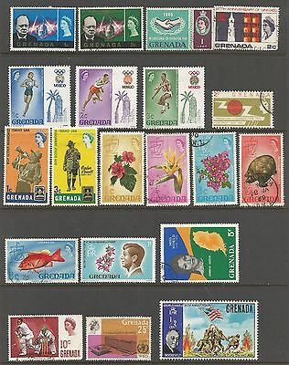 Grenada Stamp Collection 88 Misc MH & Used Stamps 1966 to mid-70s - 4 Pages  f68