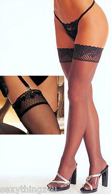 Sexy-SHEER BLACK Lace Top Stockings-Perfect & Versatile-S/M