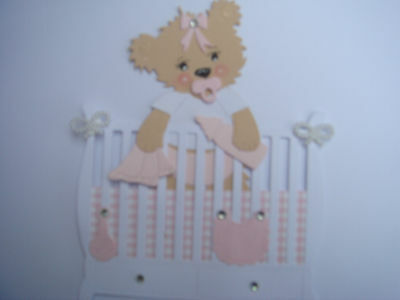Handmade Baby Bear in Cot Card Topper