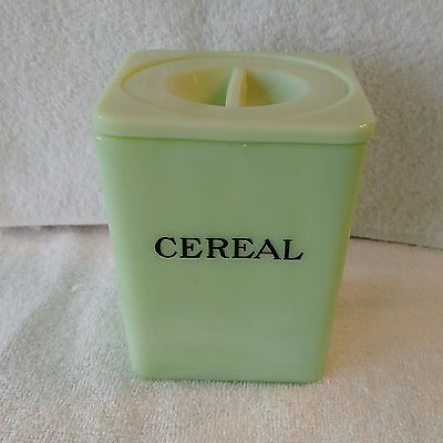 "Vintage Heavy 5"" Jadeite Cereal Canister with lid"