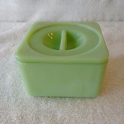 """Jeannette Green Jadeite 4"""" Square Refrigerator Dish with Lid"""