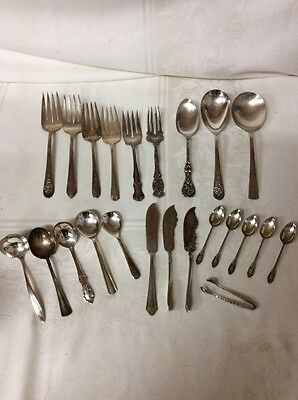 Vintage Silverplate Mixed Lot Flatware, 23 Pieces (CE3)