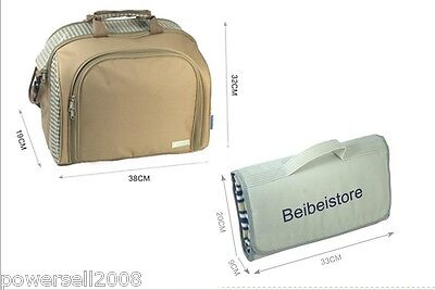 British outdoor portable Picnic/Travel Cooler Bag for 4 Person + Picnic Mat