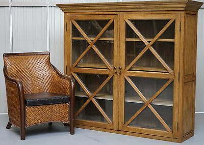 Large Wide Solid Oak With Glass Doors Bookcase Cabinet Offers Loads Of Storage