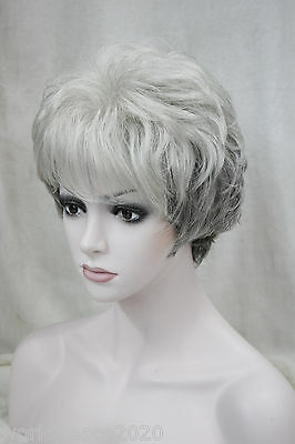 """Cos women""""s gray mix  short curly  cosplay full Middle aged wig"""
