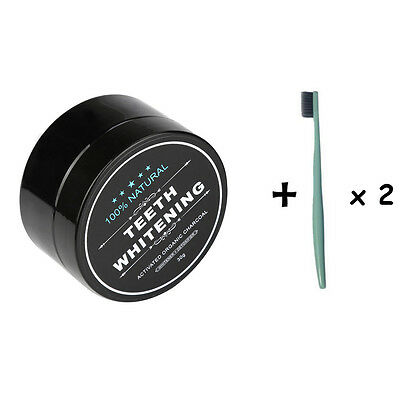 2 SET Activated Charcoal Teeth Whitening 100% Organic Coconut Powder Carbon Coco