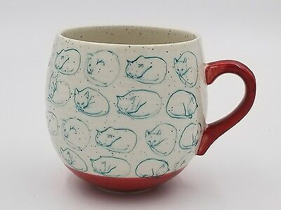 NWOT Cat Study Mug By Leah Reena Goren Blue Cat Sketches on speckled & red mug
