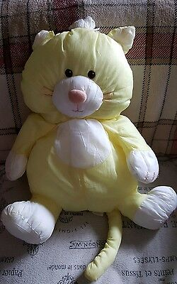 Vintage Fisher Price Puffalump Yellow Nylon Cat Stuffed Toy 1986 15""
