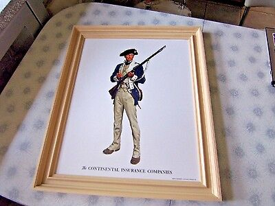 1962 Plastic Framed Continental Insurance Advertising Plaque~Sign~Soldier~18X22
