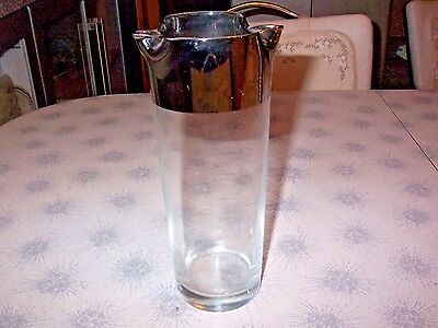 Mid Century Modern Dorothy Thorpe Bar Cocktail Pitcher Silvered~RARE DBL SPOUT