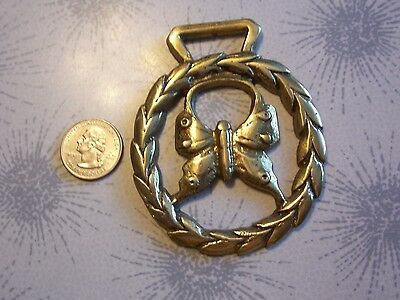 Horse Brass Tack Medallion~Saddle PARADE ADORNMENT~LAUREL WREATH BUTTERFLY