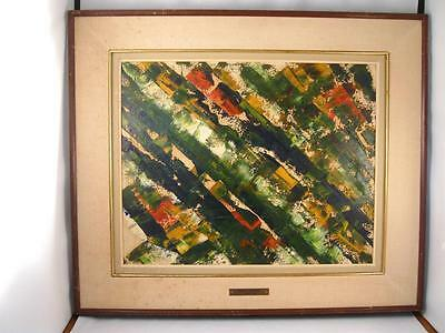 Vintage 1968 Mid Century Modern Abstract Oil Painting On Board By Therese Léger