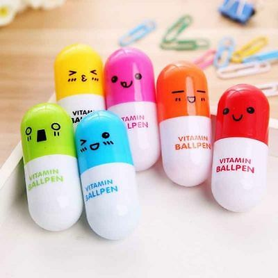 Color Random 5PCS School Supplies Capsule Ballpoint Pen Writing Pill Ballpen
