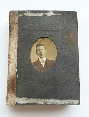Victorian or Edwardian Antique Album of 21 Small Miniature Portrait Photographs