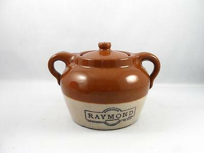 Vintage Medicine Hat Pottery Small Beans Crock W/ Raymond Montreal Advertising