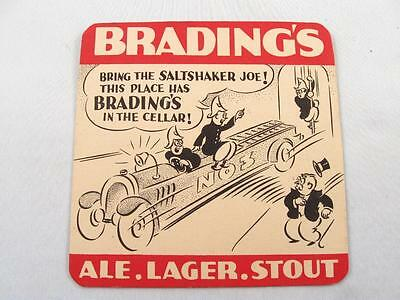Vintage Brading`s Ale Lager Stout Coaster W/ Firefighter Beer Advertising
