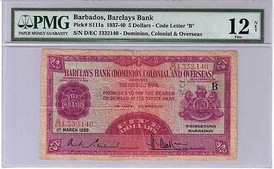 Barclays Bank Barbados $5 1st March 1939 P.S111a PMG 12 Ex Rare Issued Note