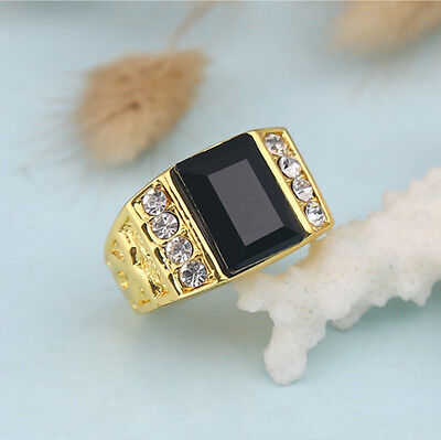 Men's Size 8 Black Sapphire in 18k Yellow Gold Filled Ring Good Fine Gift