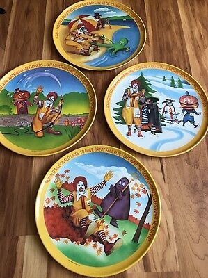 Lot Of 4 1977 McDonald's Plates In Good Condition