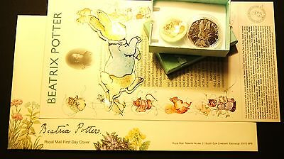 Beatrix Potter *FIRST DAY COVER* + Peter Rabbit 50p COLOUR DECAL Coin FATHER*DAY