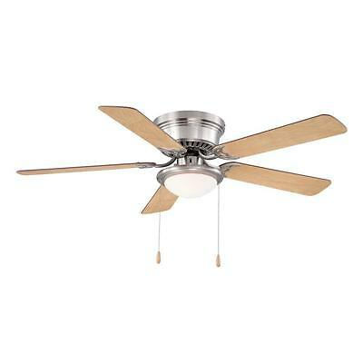 Hugger 52 In. Brushed Nickel Ceiling Fan With Frosted Dome Light Low-Profile