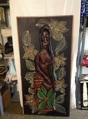"SUPER RARE 60"" Witco Tiki Carved Wood Sculpture on leather  Mid Century Modern"