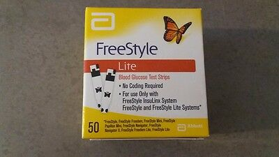 FreeStyle Lite Testing strips x50 * BRAND NEW & SEALED *