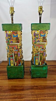 Vintage Pair Of 2 Lite America Colorful Funky Geometric Trippy Table Lamps Lamp