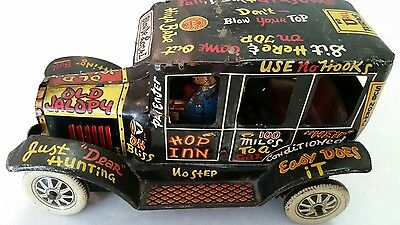 Vintage Marx Tin Working Windup Old Jalopy Car With Driver Circa 1950's