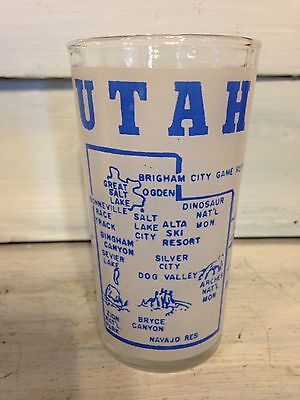 Vintage Utah Frosted Souvenir Glass